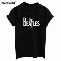 Women  THE BEATLES Letters Print Women T-Shirts Tops Tees  Loose T Shirt Black White Femme