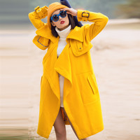 Yellow Double Collar Open Front Coat