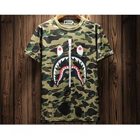 BAPE 2018 spring and summer new camouflage shark sports street short-sleeved T-shirt F-A-KSFZ Camouflage green