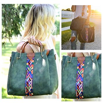 Aztec Accent Leather Purse Crossbody Bag Set