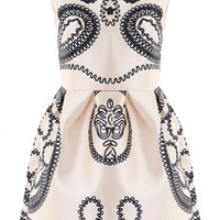 Ivory Paisley Sleeveless Mini Dress