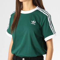 adidas Originals adicolor three stripe t-shirt in green
