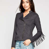 Others Follow Womens Moto Jacket Black  In Sizes