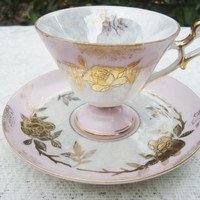Lefton Tea Cup Hand painted White and Pink with Gold Roses Bridal, Shower, Tea Party, Birthday