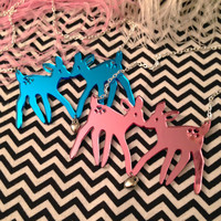 Pink or Blue Acrylic FAWNS Necklace by imyourpresent on Etsy