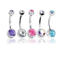 """Lot of 5 Pc Double Jeweled CZ Crystal Gem Belly Button Navel Rings 316L Surgical Steel 14 Gauge (5 Pieces)14G 3/8""""(1.6mm~10mm) + 1 Free Belly Retainer: Jewelry: Amazon.com"""