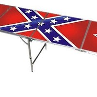Confederate Rebel Beer Pong Table - 8 Feet with Bottle Opener, Ball Rack, & 6 Pong Balls!