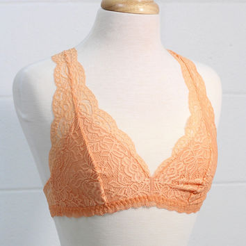 Lace Lined Racerback Bralette {Cantaloupe} - Size SMALL