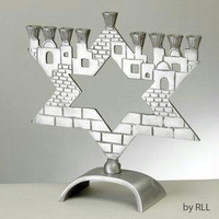 Metal Menorahs - Star-Jerusalem Aluminum Menorah