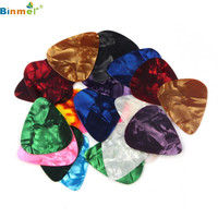 Hot Selling 2016 NEW 20 pcs 0.46mm Stylish Colorful Celluloid Guitar Picks Plectrums For Guitar Bass Jun29