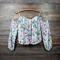 silver swan off the shoulder gypsy top - floral