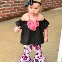 Baby Girl Clothes Newborn Summer SetOff Shoulder Solid Tops Floral Flare Pants Casual Baby Clothes 18Jul25