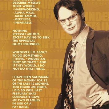 The Office Dwight Schrute Bio Poster 24x36