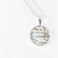 Vintage Map Sterling Silver Round Necklace