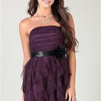 Strapless Dress with Glitter and Tendril Skirt with Rosette Waistband