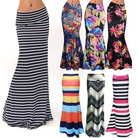 Women Fashion Floor-length Maxi Skirt with Stretch Floral Bodycon Beach Skirt Striped Casual Long Skirt