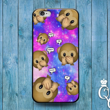 iPhone 4 4s 5 5s 5c 6 6s plus iPod Touch 4th 5th 6th Generation Cover Funny Purple Pink Blue Space Nebula Emoji Cute Monkey Quote OMG Case