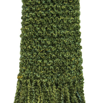 Green Scarf Chunky Knit Long Knitted Winter Scarf Men Women Olive Moss Apple Green Scarf