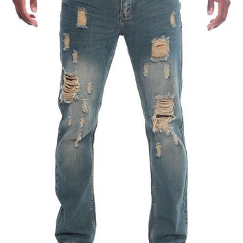 Men's Destroyed Taper Fit Denim Jeans