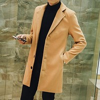 Men's Wool Long Sleeves Coat - Khaki Fashion Men Jacket