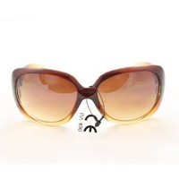Fashion Cateye Sunglasses P1613 Brown Leopard Glassy Frame Amber Gradient Lens for Men and Women