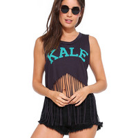 KALE Graphic Print Fringed Sleeveless Crop Top in Black