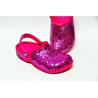 Fuchsia Pink Starlight Sequin Clogs