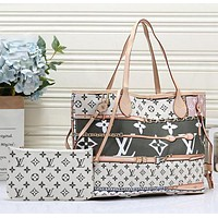 LV Louis Vuitton AAA Newest Fashion Women Leather Handbag Shoulder Bag Satchel Set Two Piece White&Green