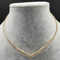 "13.50"" gold V shape crystal cuff choker collar necklace"