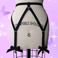 Black Bow garter belt Harajuku pastel goth harness garter stockings