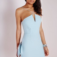 Missguided - Crepe Cross Front Bodycon Dress Powder Blue