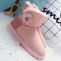 UGG Winter New Popular Women Chic Flower Buckle Warm Wool Snow Boots Pink