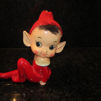 Antique Red Elf/PIXI with red cap and bangs