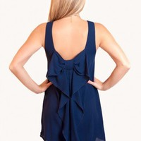 EVERLY: Pretty in Navy Bow Dress - Special Occasion - Dresses