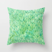 Green wall Throw Pillow by Savousepate