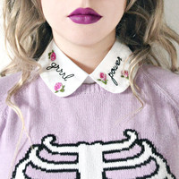 Grrrl Power Detachable Embroidered Peter Pan Fake Collar Feminist Riot Grrrl