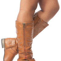 Tan Faux Leather Zipper Accent Calf Length Boots