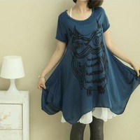 Abstract Owl Print 2 Pieces Oversize T-shirt ET4