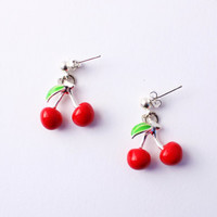 Rockabilly Cherry Earrings pinup girl retro fifties tattoo jewelry Jewellery Accessories