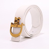 DIOR Fashionable Women Men Letter Smooth Buckle Leather Belt White