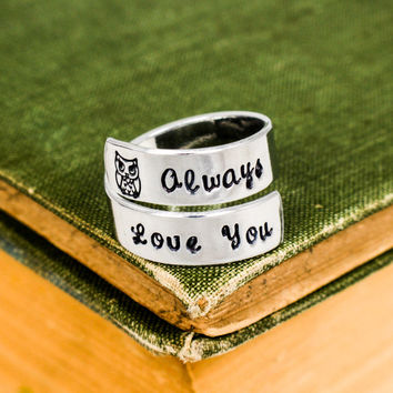 Owl (I'll) Always Love You - Owl - Affirmation Jewelry - Adjustable Aluminum Wrap Ring
