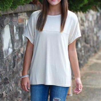 Touch of Leather Top {Beige}