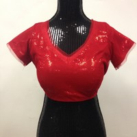 Sequence Party Wear Blouse - Red