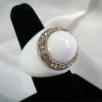Vintage White Lucite & Clear Rhinestone Ring, Size 7, 1960s Mod