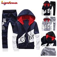 Mens set letter sportswear sweatsuit men with pants sweat track suit jacket hoodie 5XL large size male sporting suits Tracksuit
