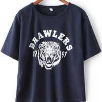 Navy Tiger Letter Print Short Sleeve Graphic T-shirt