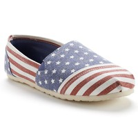 SO Women's American Flag Canvas Slip-On Flats (Blue/White/Red)