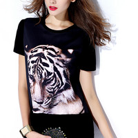 Black Tiger Print T-Shirt Dress
