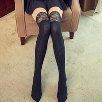 Knitting Lace Cotton Over the Knee Thigh Stockings