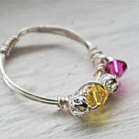 Birthstone ring, mothers day ring, grandmother, wife, daughter ring silver wire, pink lemonade - wire wrapped